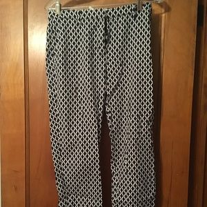 H&M Blue Printed Dress Pants - Skinny Leg; Size 6